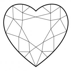Heart-shaped clipart diamond shape