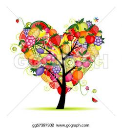 Heart-shaped clipart fruit