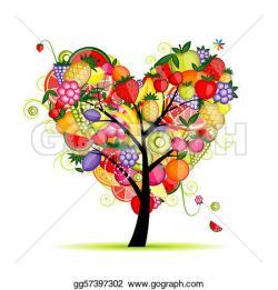 Heart-shaped clipart fruit