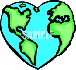 Heart-shaped clipart globe