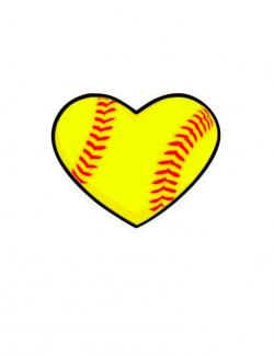Heart-shaped clipart softball