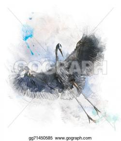 Great Blue Heron clipart watercolor