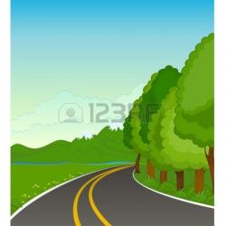Asphalt clipart country road