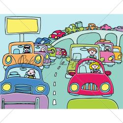 Highway clipart traffic jam