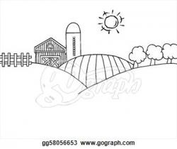 Farmland clipart black and white