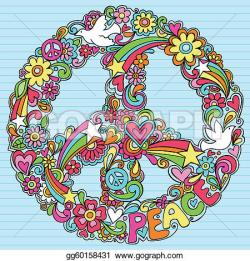 Peace Dove clipart psychedelic