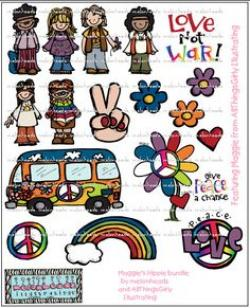 Hippies clipart themed