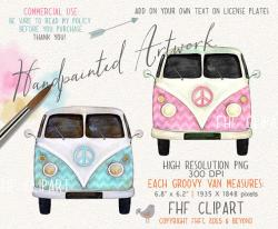 Hippies clipart vintage bus