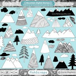 Outdoor clipart mountain sketch