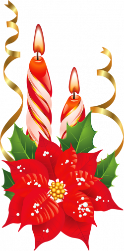 Poinsettia clipart christmas candle
