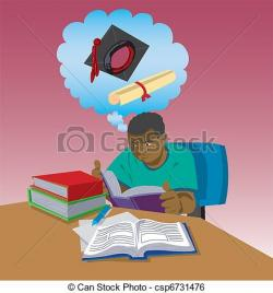 Homework clipart hard working student