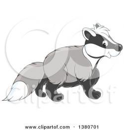 Honey Badger clipart scared
