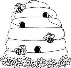 Bee Hive clipart black and white