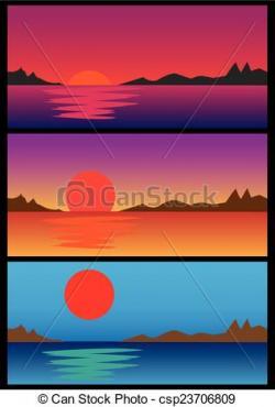 Drawn sunrise sunset horizon