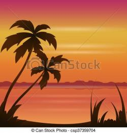Drawn palm tree horizon
