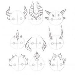 Drawn horns dragon