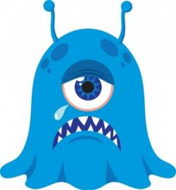 Illustration clipart blue alien