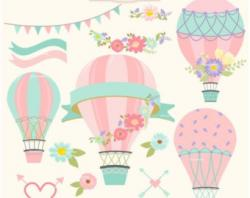 Hot Air Balloon clipart coral