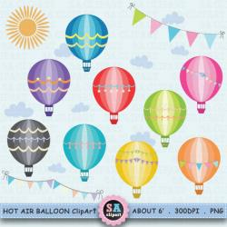 Hot Air Balloon clipart flag