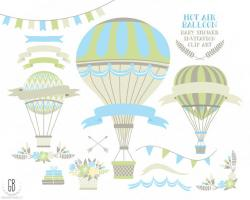 Hot Air Balloon clipart light blue