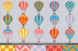Hot Air Balloon clipart paper clip
