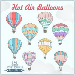 Hot Air Balloon clipart pastel color