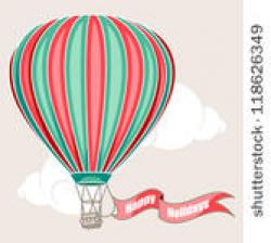 Hot Air Balloon clipart vintage