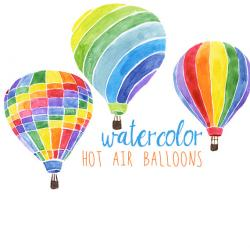 Hot Air Balloon clipart watercolor