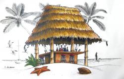 Hut clipart tiki hut
