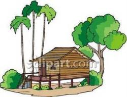 Hut clipart tropical