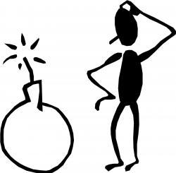 Men clipart thinking stick