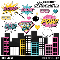 Super Girl clipart digital