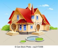 Illistration clipart beautiful house