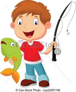 Illustration clipart boy fishing