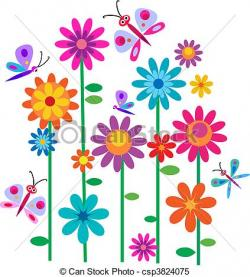 Illustration clipart colorful flower