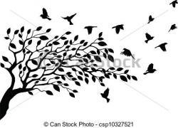Illistration clipart tree bird silhouette