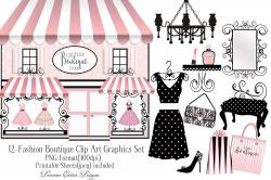 Illustration clipart vintage chic fashion boutique
