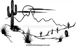 In The Desert clipart black and white