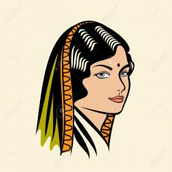 Saree clipart beautiful indian woman