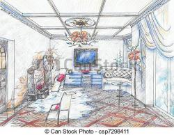 Interior Designs clipart sketch living room