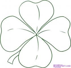 Drawn leaf four leaf clover