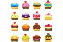 Vanilla Cupcake clipart set objects