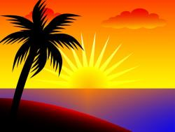 Islet clipart ocean sunset