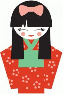 Kimono clipart japanese doll