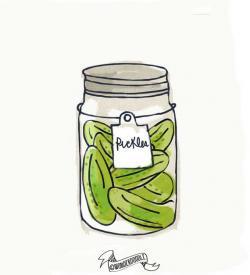 Drawn mason jar pickle jar