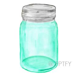 Mason Jar clipart teal
