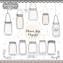 Drawn mason jar invitation