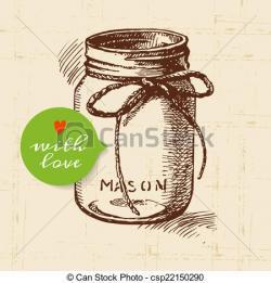 Drawn mason jar sketch