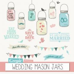 Drawn mason jar save the date