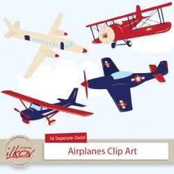Pilot clipart red vintage airplane